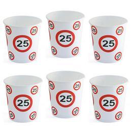 25-ös Sebességkorlátozó Számos Szülinapi Parti Pohár, 250 ml, 6 db