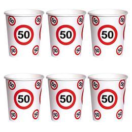 50-es Számos Sebességkorlátozó Szülinapi Papír Parti Pohár - 250 ml, 6 db-os