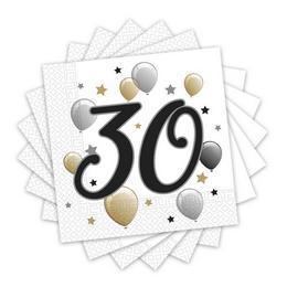 Elegáns Léggömbös 30-as Számos Szülinapi Party Szalvéta - 33 cm x 33 cm, 20 db-os