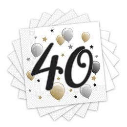 40-es Számos Arany-Ezüst-Fekete Léggömbös Szülinapi Parti Szalvéta