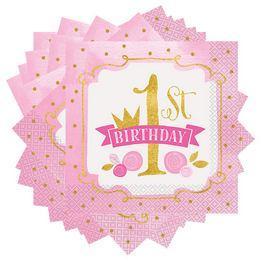 First Birthday Pink és Arany - Első Szülinapi Parti Szalvéta - 33 cm x 33 cm, 16 db-o