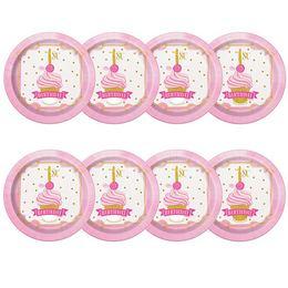 First Birthday Pink és Arany - Első Szülinapi Parti Tányér - 17 cm, 8 db-os
