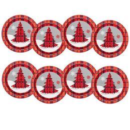 Rusztikus Kockás Karácsonyi Fenyőfa Mintás Parit Tányér - 22 cm, 8 db-os