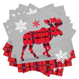 Rusztikus Kockás Karácsonyi Rénszarvas Mintás Szalvéta - 33 cm x 33 cm, 16 db-os