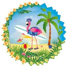 Nyaraló Flamingó Parti Szalvéta - 33 cm x 33 cm, 20 db-os