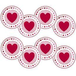 Szíves - Pöttyös Valentin Napi Tányér - 22 cm, 8 db-os
