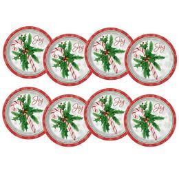 Candy Cane - Cukorpálca Karácsonyi Parit Tányér - 22 cm, 8 db-os