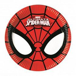 Ultimate Spiderman Power - Pókember Parti Tányér - 20 cm, 8 db-os