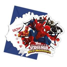 Ultimate Spiderman Web-Warriors - Pókember Parti Meghívó és Boríték - 6 db-os