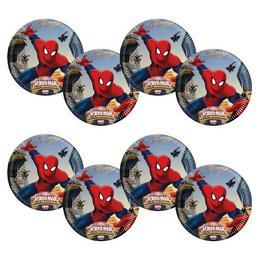 Ultimate Spiderman Web-Warriors - Pókember Parti Tányér - 19,5 cm, 8 db-os