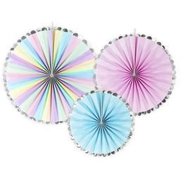 Színes, legyező alakú függő dekoráció a vidám hangulatért - 3 db-os