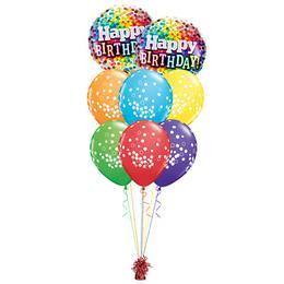 Vidám Konfettis Szülinap - Születésnapi prémium léggömbcsokor
