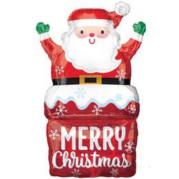 Vidám Mikulás A Kéményben Karácsonyi Héliumos Fólia Lufi, 76 cm