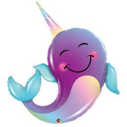 40 inch-es Vidám Mosolygó Narvál Delfin - Party Narwhal Super Shape Fólia Lufi