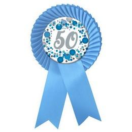 50-es Világoskék Szalagos Pasztell Konfettis Kitűző