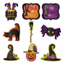 Halloween-re Vidám - Csillogó Karton Dekoráció - 9 db