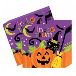 Halloween-re Vidám Boszorkány és Tökfej Mintás Parti Szalvéta