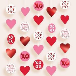 XOXO és Love Feliratú Függő Dekor